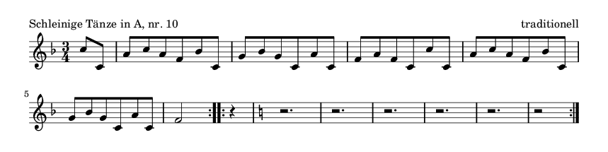 Schleinige Tänze in A, nr. 10 - please update page (F5 key), if notes are not visible