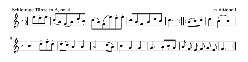 Schleinige Tänze in A, nr. 4 - please update page (F5 key), if notes are not visible