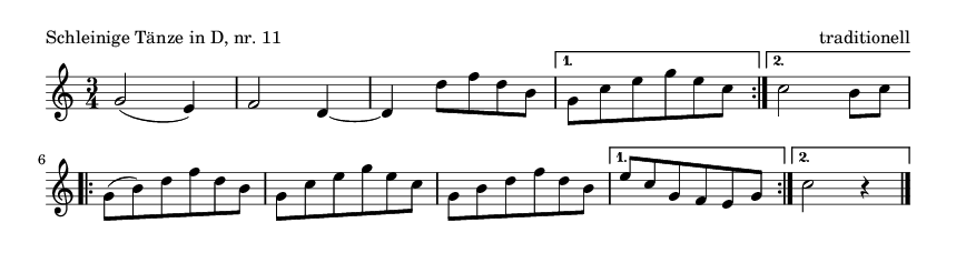 Schleinige Tänze in D, nr.  11 - please update page (F5 key), if notes are not visible