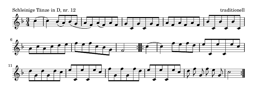 Schleinige Tänze in D, nr.  12 - please update page (F5 key), if notes are not visible