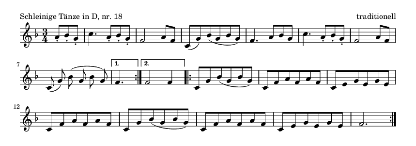 Schleinige Tänze in D, nr.  18 - please update page (F5 key), if notes are not visible