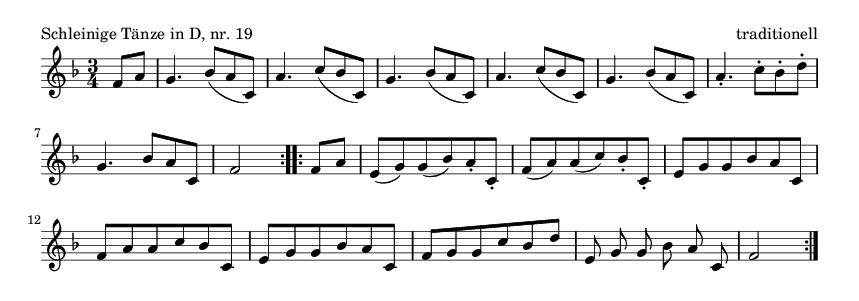 Schleinige Tänze in D, nr.  19 - please update page (F5 key), if notes are not visible