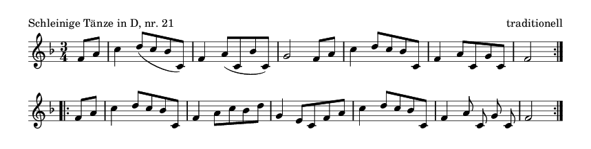 Schleinige Tänze in D, nr.  21 - please update page (F5 key), if notes are not visible