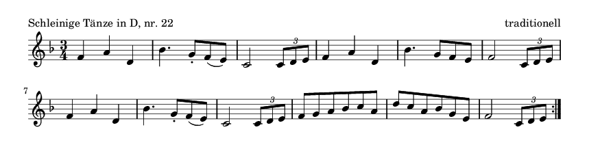 Schleinige Tänze in D, nr.  22 - please update page (F5 key), if notes are not visible