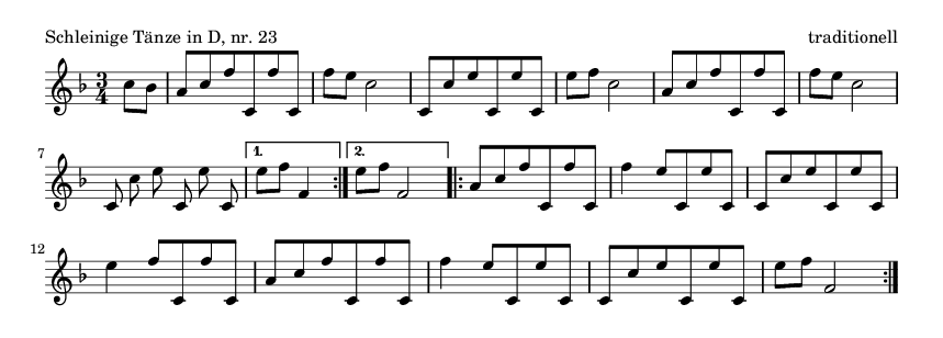 Schleinige Tänze in D, nr.  23 - please update page (F5 key), if notes are not visible