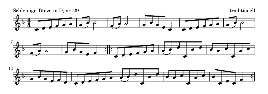 Schleinige Tänze in D, nr.  29 - please update page (F5 key), if notes are not visible