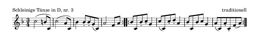 Schleinige Tänze in D, nr. 3 - please update page (F5 key), if notes are not visible