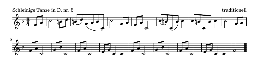 Schleinige Tänze in D, nr. 5 - please update page (F5 key), if notes are not visible