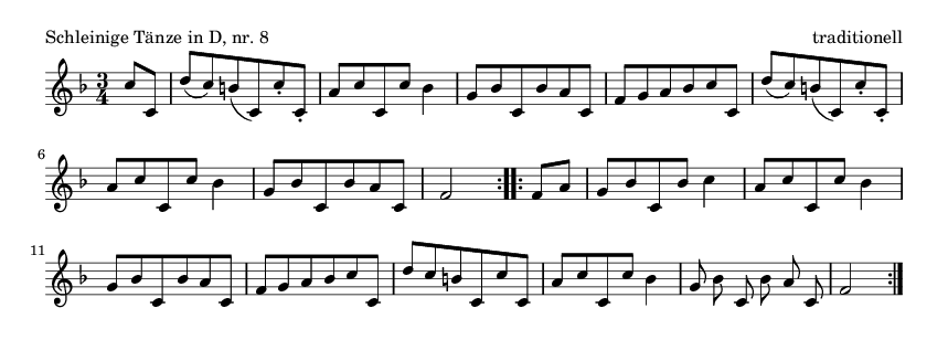 Schleinige Tänze in D, nr. 8 - please update page (F5 key), if notes are not visible