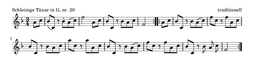 Schleinige Tänze in G, nr. 20 - please update page (F5 key), if notes are not visible
