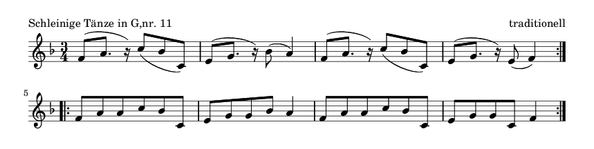 Schleinige Tänze in G,nr. 11 - please update page (F5 key), if notes are not visible