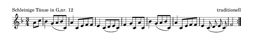 Schleinige Tänze in G,nr. 12 - please update page (F5 key), if notes are not visible