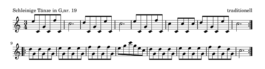 Schleinige Tänze in G,nr. 19 - please update page (F5 key), if notes are not visible