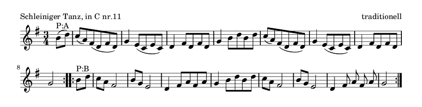 Schleiniger Tanz, in C nr.11 - please update page (F5 key), if notes are not visible