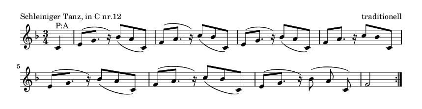 Schleiniger Tanz, in C nr.12 - please update page (F5 key), if notes are not visible