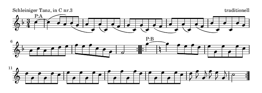 Schleiniger Tanz, in C nr.3 - please update page (F5 key), if notes are not visible