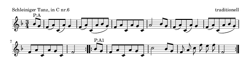 Schleiniger Tanz, in C nr.6 - please update page (F5 key), if notes are not visible
