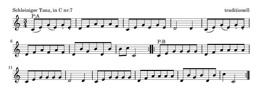 Schleiniger Tanz, in C nr.7 - please update page (F5 key), if notes are not visible