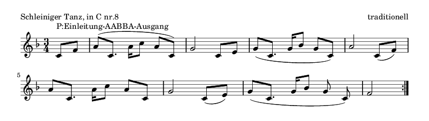 Schleiniger Tanz, in C nr.8 - please update page (F5 key), if notes are not visible