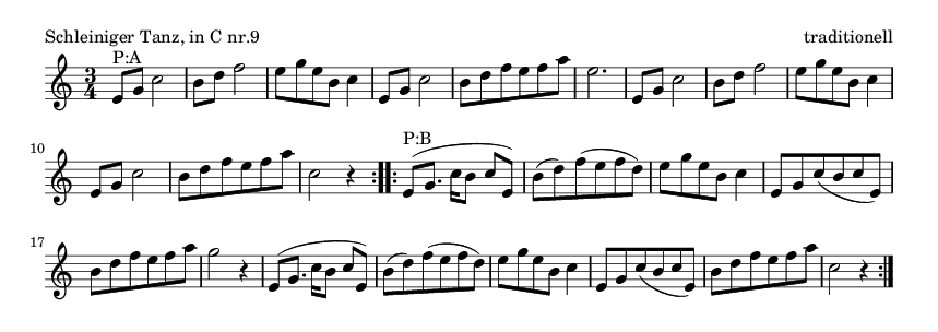 Schleiniger Tanz, in C nr.9 - please update page (F5 key), if notes are not visible