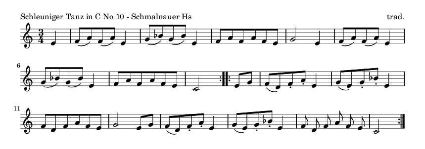Schleuniger Tanz in C No 10 - Schmalnauer Hs - please update page (F5 key), if notes are not visible