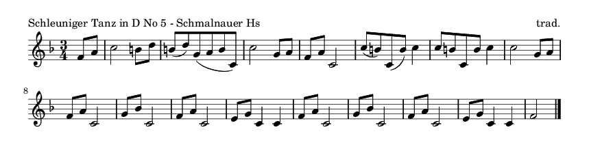 Schleuniger Tanz in D No 5 - Schmalnauer Hs - please update page (F5 key), if notes are not visible