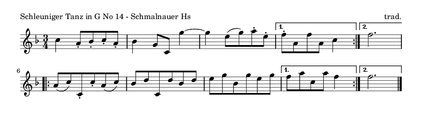 Schleuniger Tanz in G No 14 - Schmalnauer Hs - please update page (F5 key), if notes are not visible