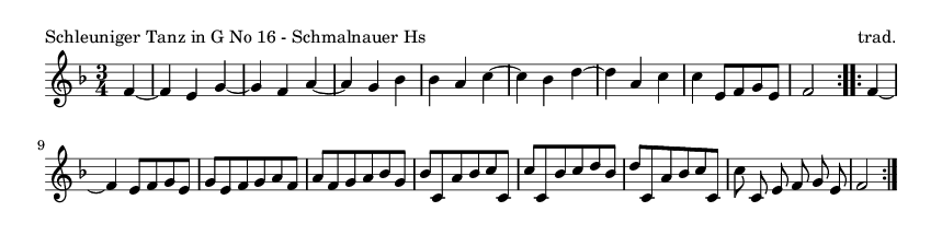 Schleuniger Tanz in G No 16 - Schmalnauer Hs - please update page (F5 key), if notes are not visible
