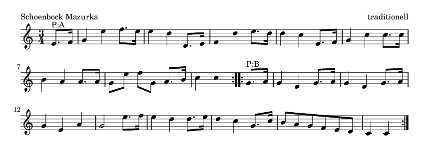 Schoenbock Mazurka - please update page (F5 key), if notes are not visible