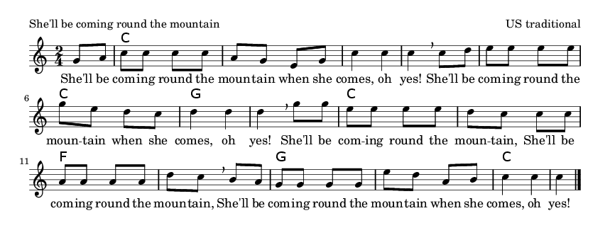 She'll be coming round the mountain - please update page (F5 key), if notes are not visible