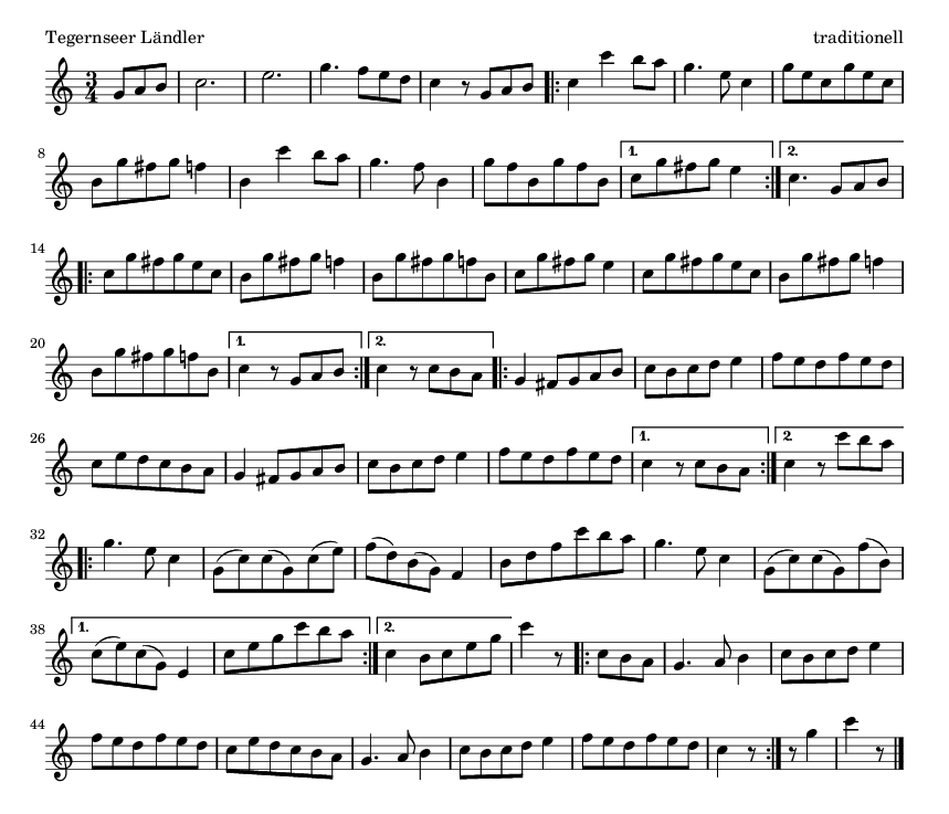 Tegernseer Ländler - please update page (F5 key), if notes are not visible