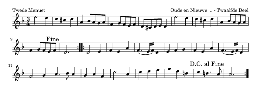 Twede Menuet - please update page (F5 key), if notes are not visible