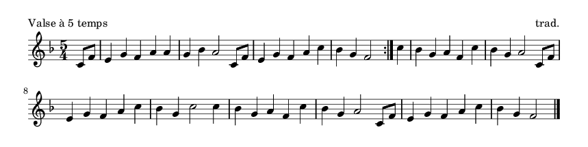 Valse à 5 temps - please update page (F5 key), if notes are not visible