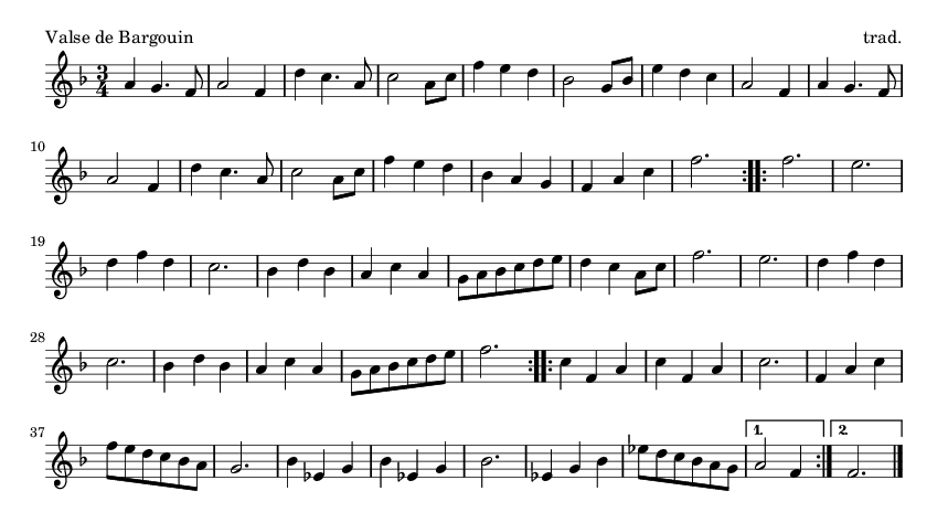 Valse de Bargouin - please update page (F5 key), if notes are not visible