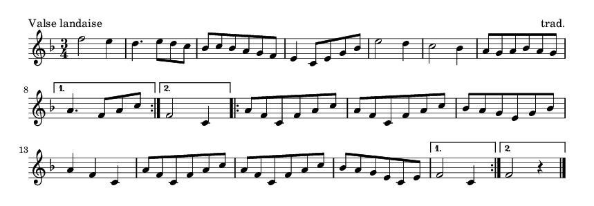 Valse landaise - please update page (F5 key), if notes are not visible