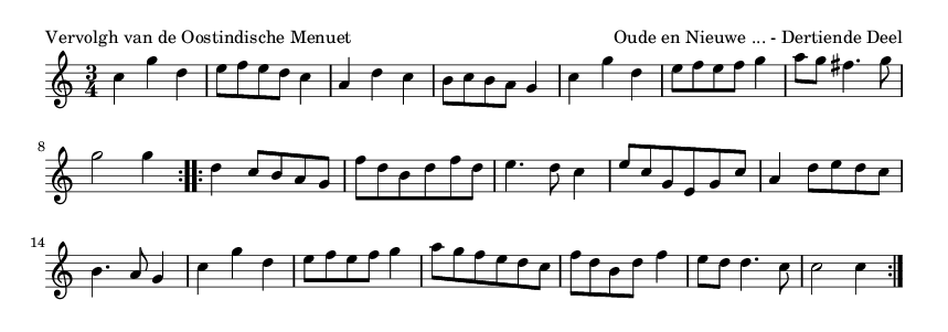 Vervolgh van de Oostindische Menuet - please update page (F5 key), if notes are not visible