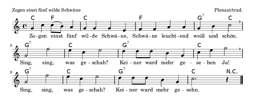 Zogen einst fünf wilde Schwäne - please update page (F5 key), if notes are not visible